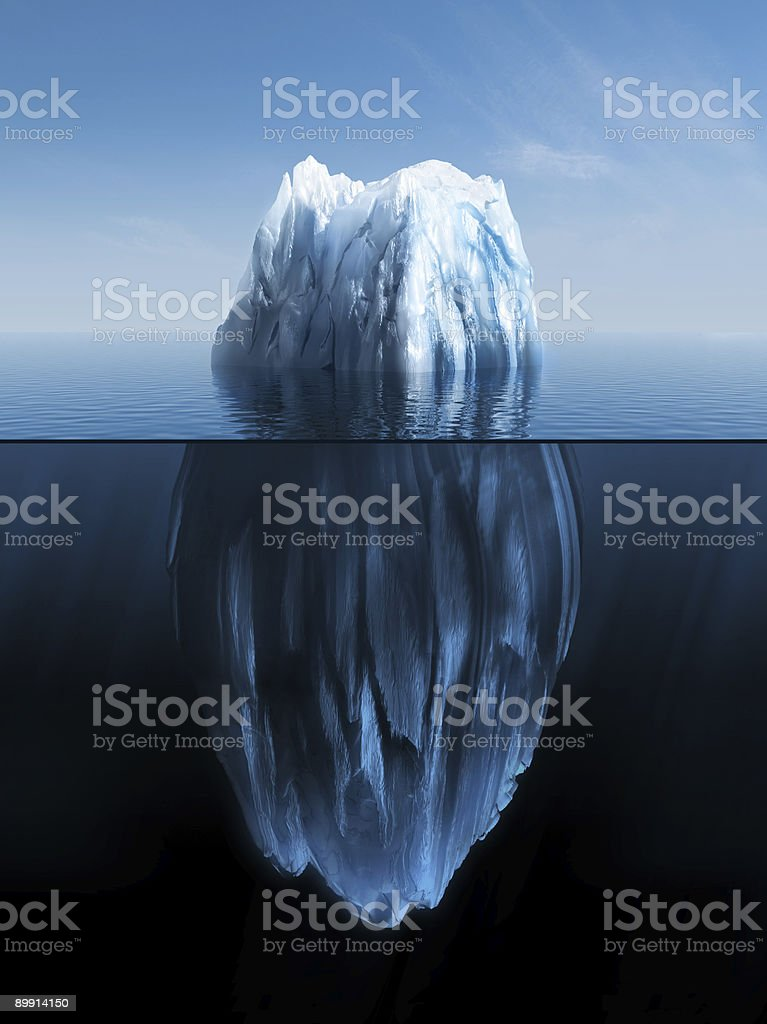 3d Iceberg under water and above stock photo