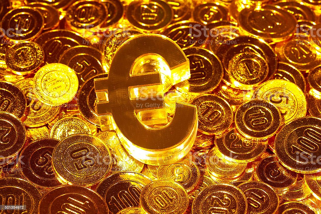 3d icon € euro in gold coins heap stock photo