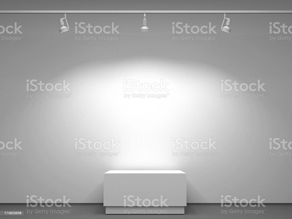 3d illuminated podium stock photo