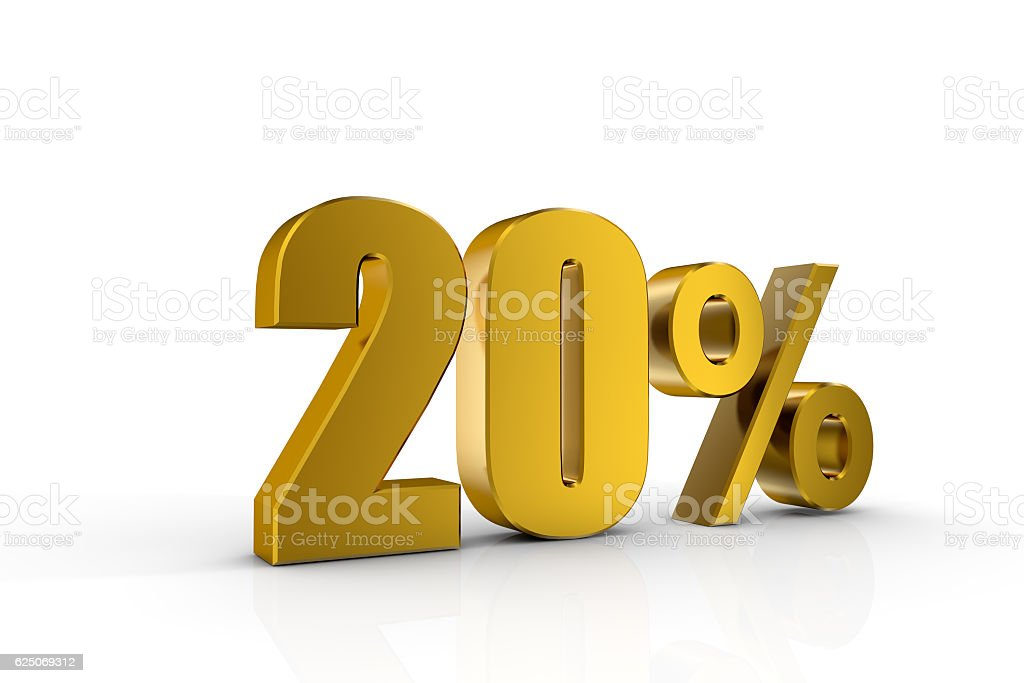 3d illustration 20% stock photo