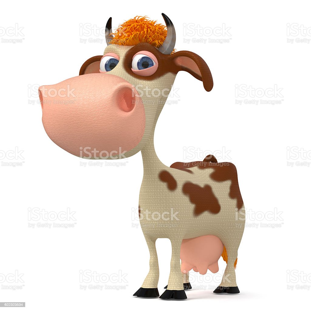 3d illustration a cow with horns stock photo