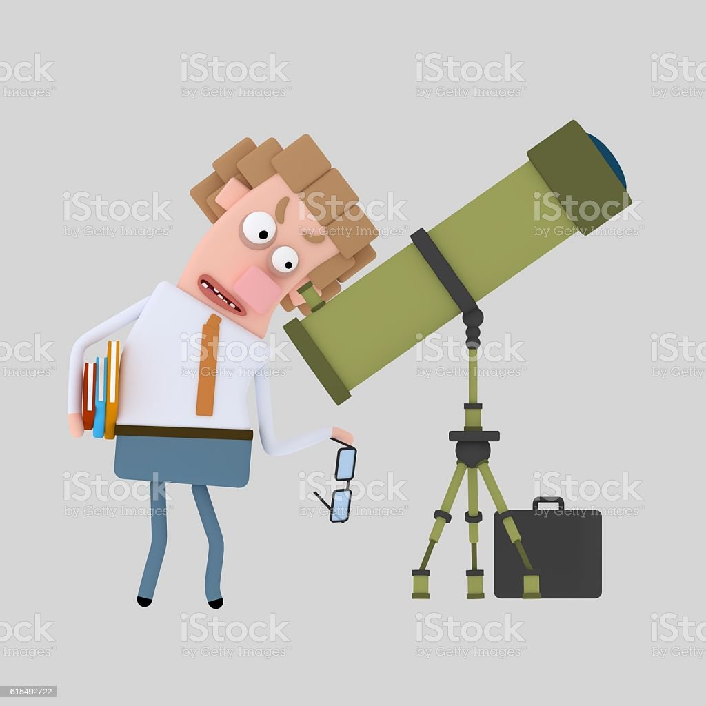 3d illustration. An astronomer stock photo