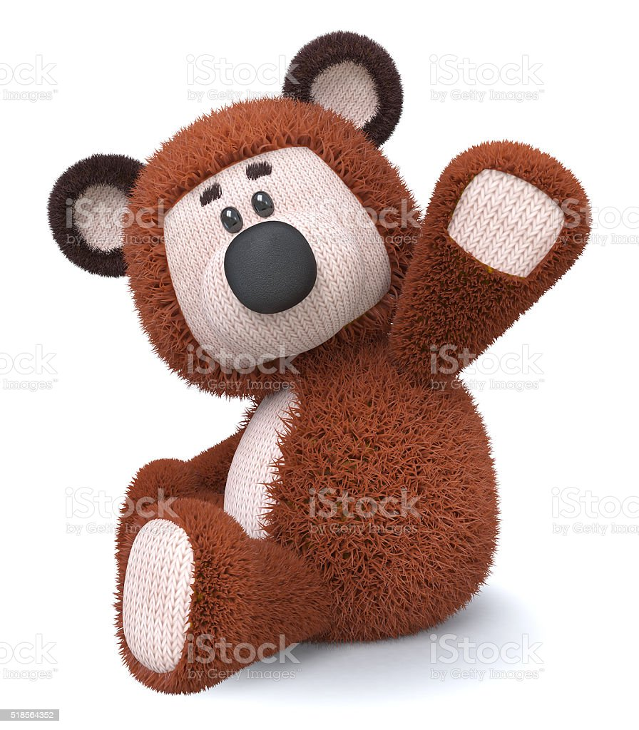 3d illustration brown bear toy stock photo