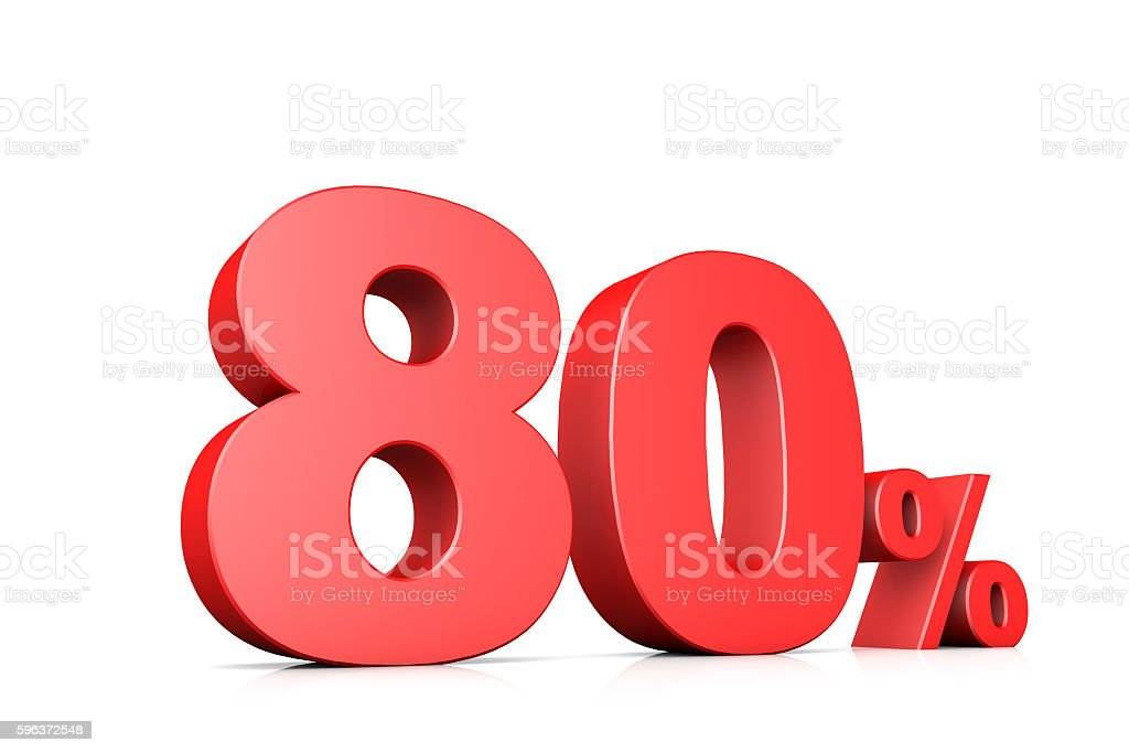 3d illustration business number 80 percent stock photo