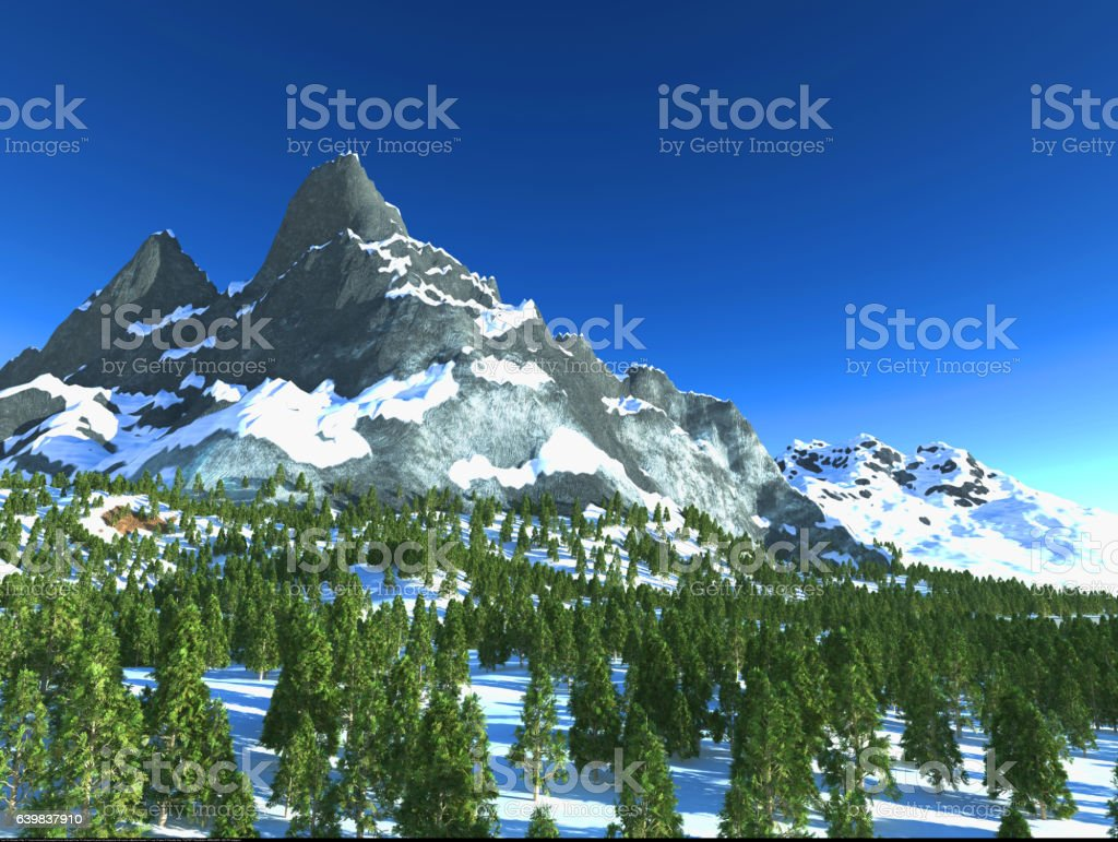 3d illustration  mountain with snow and trees stock photo