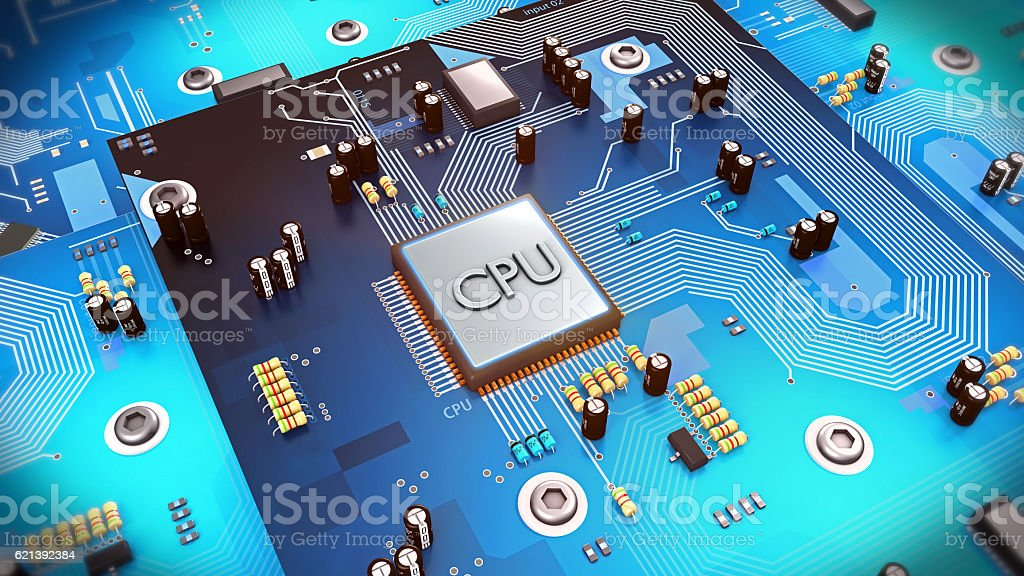 3d illustration of a computer processor on circuit board stock photo