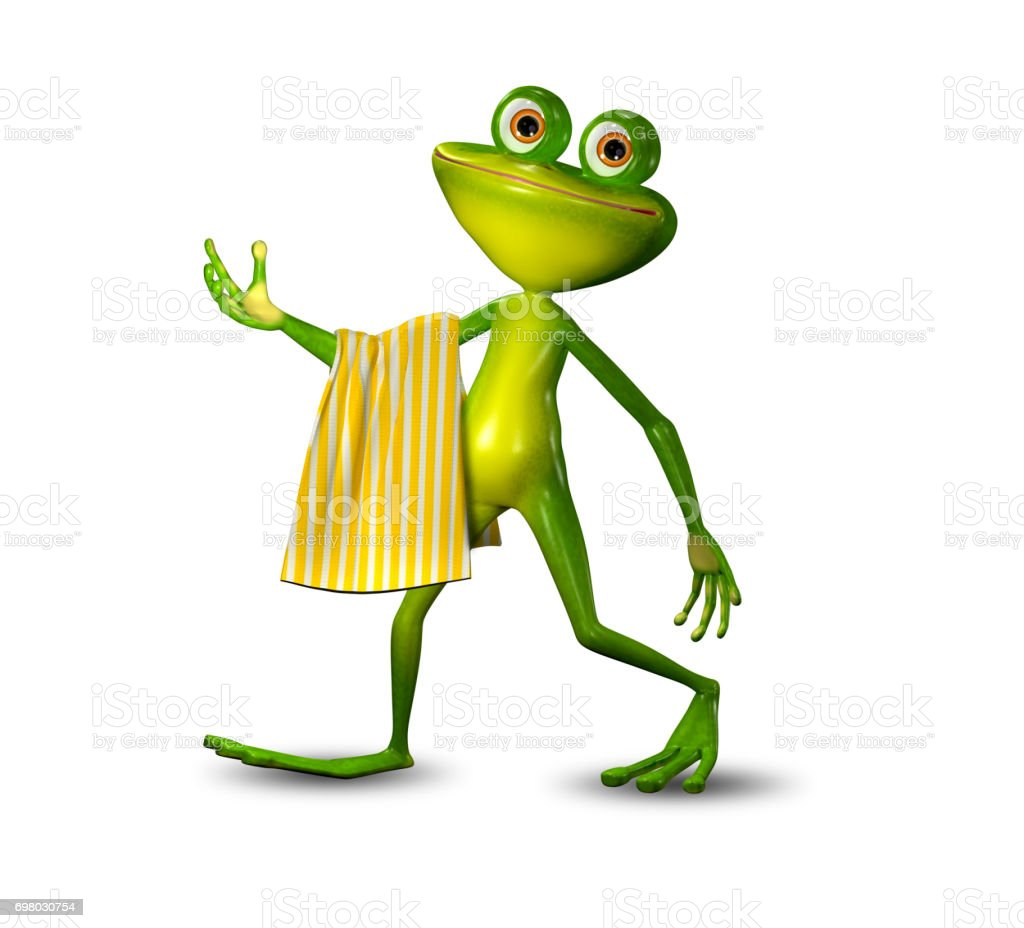 3d Illustration of a Green Frog Walking with a Towel stock photo