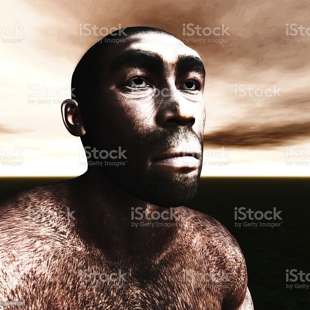 3d Illustration of a Homo Erectus stock photo
