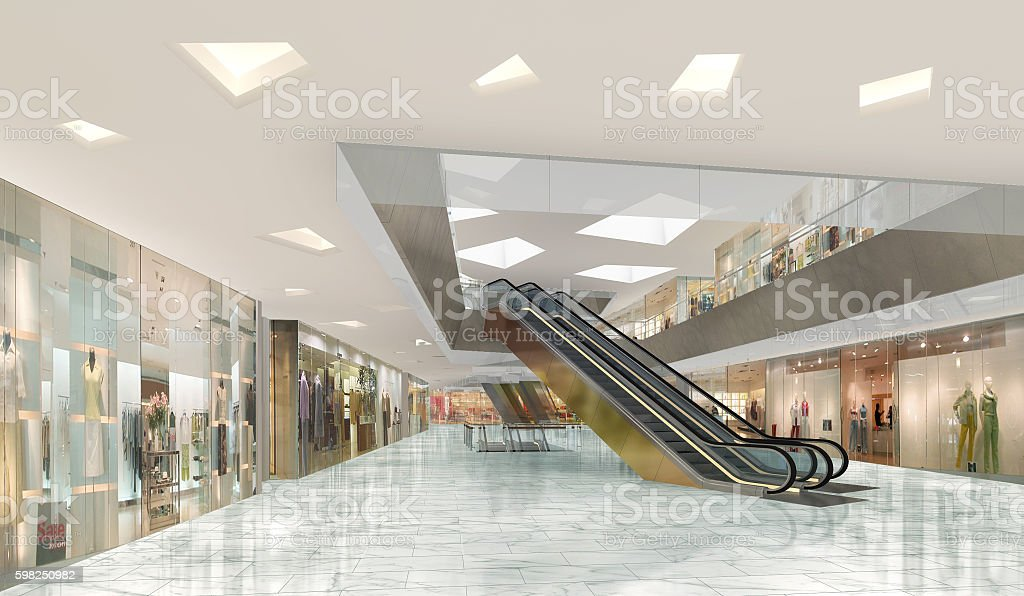 3d illustration of a shopping mall stock photo
