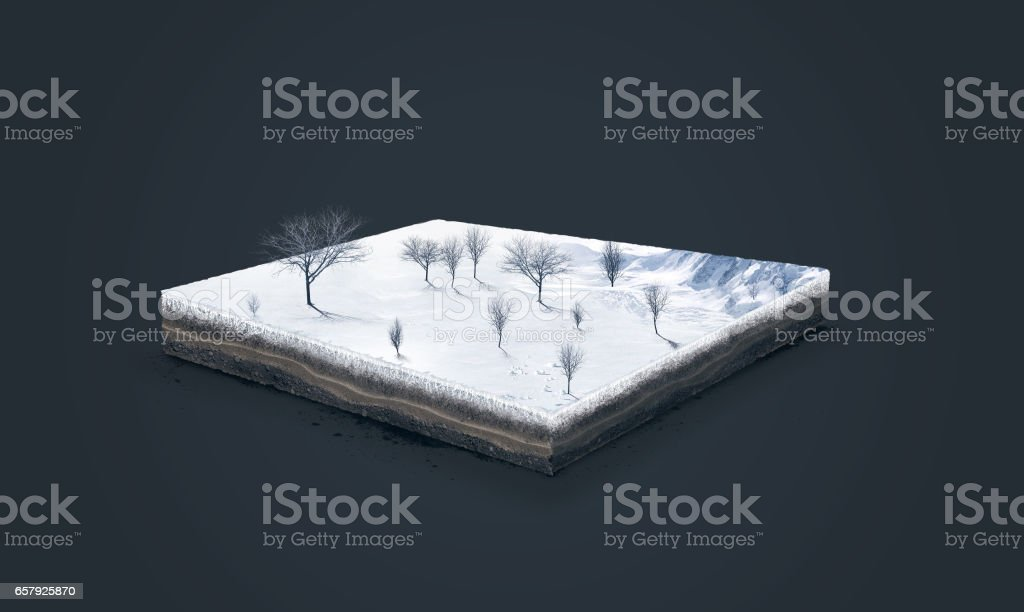 3d illustration of a soil slice, winter nature with trees isolated on white background stock photo