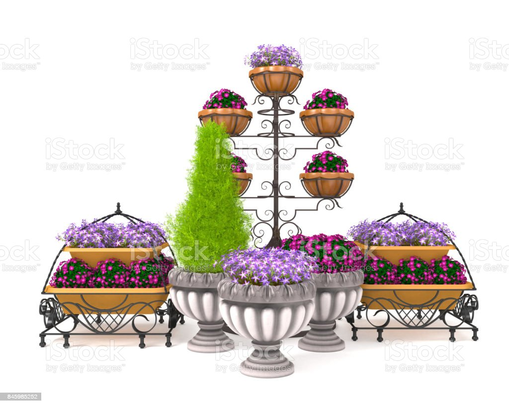 3d illustration of a street flower bed on a white background stock photo