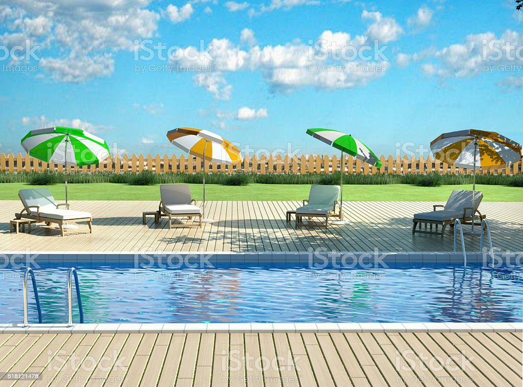 3d illustration of backyard with pool stock photo