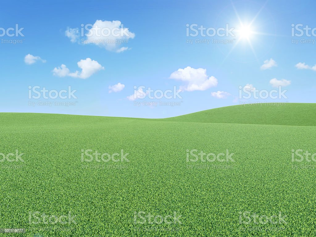 3d Illustration of Beautiful Landscape with Clouds and Sun vector art illustration
