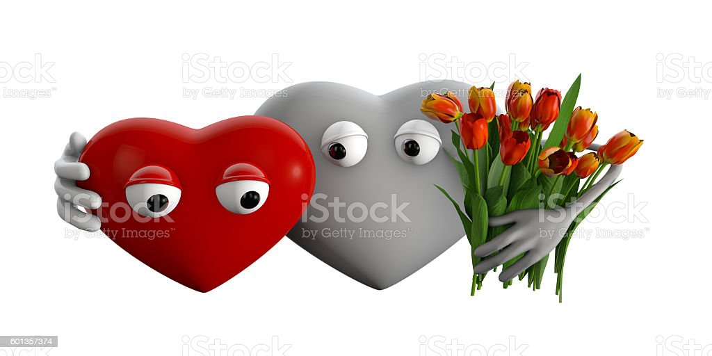 3d Illustration of cartoon hearts with flowers stock photo