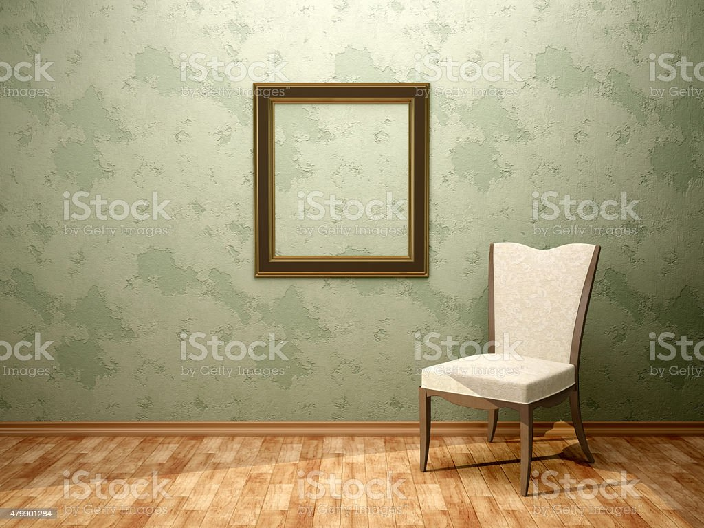 3d illustration of chair frame in the green room stock photo