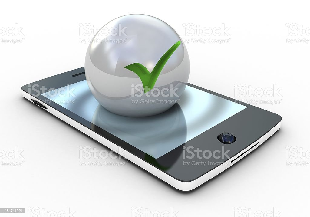 3d illustration of check mark on smartphone over white backgroun royalty-free stock photo