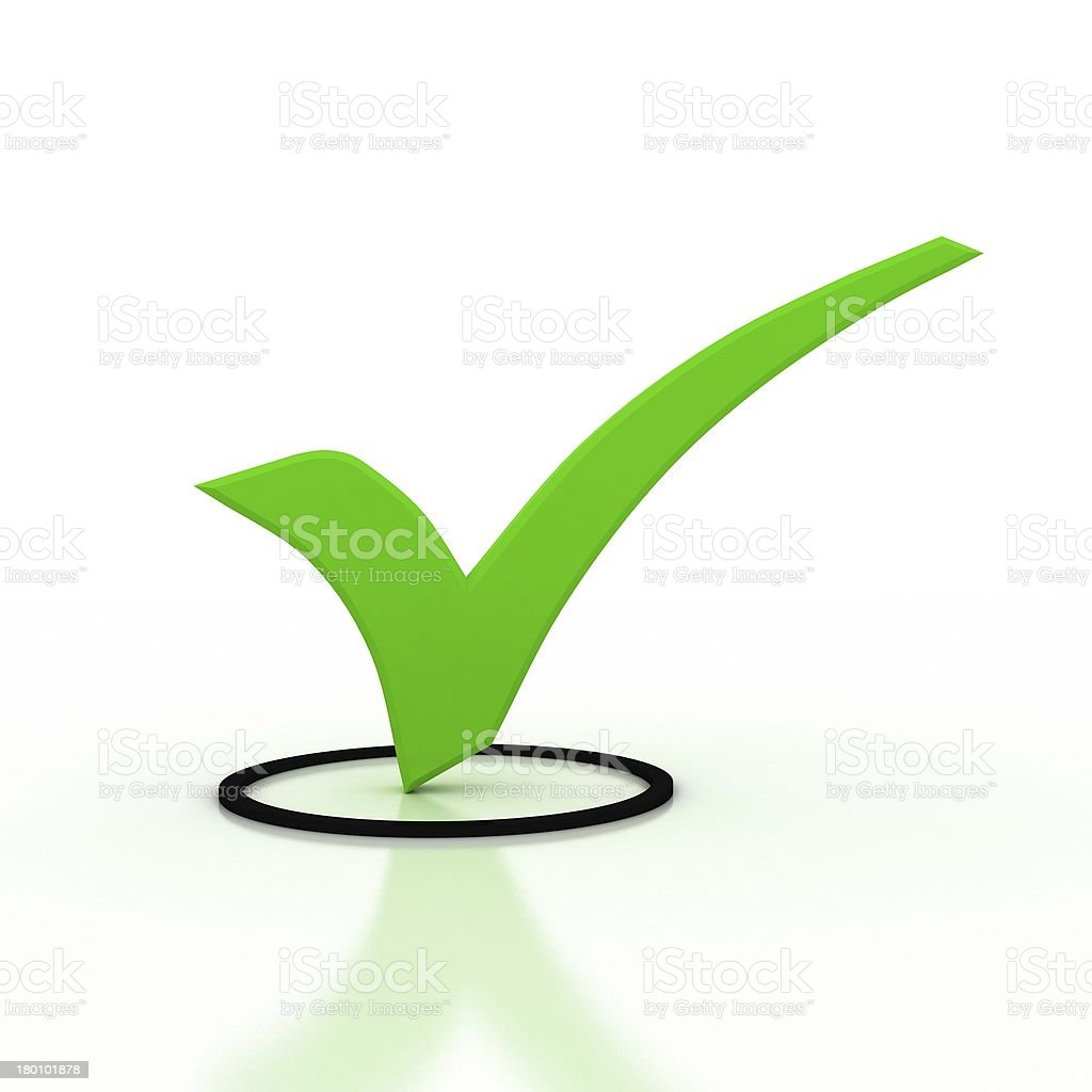 3d illustration of check mark over white background royalty-free stock photo