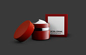 3d Illustration of cream with box on gray backround