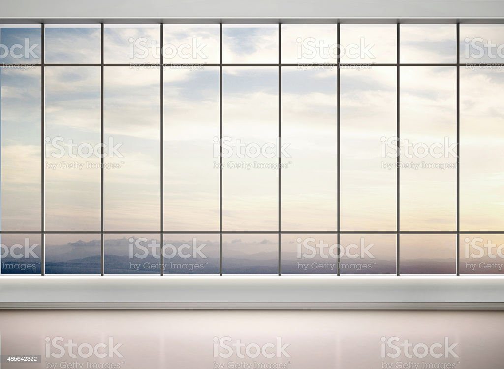 3d illustration of empty office with large windows stock photo