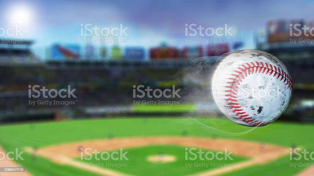 3d illustration of flying baseball leaving a trail of smoke. stock photo
