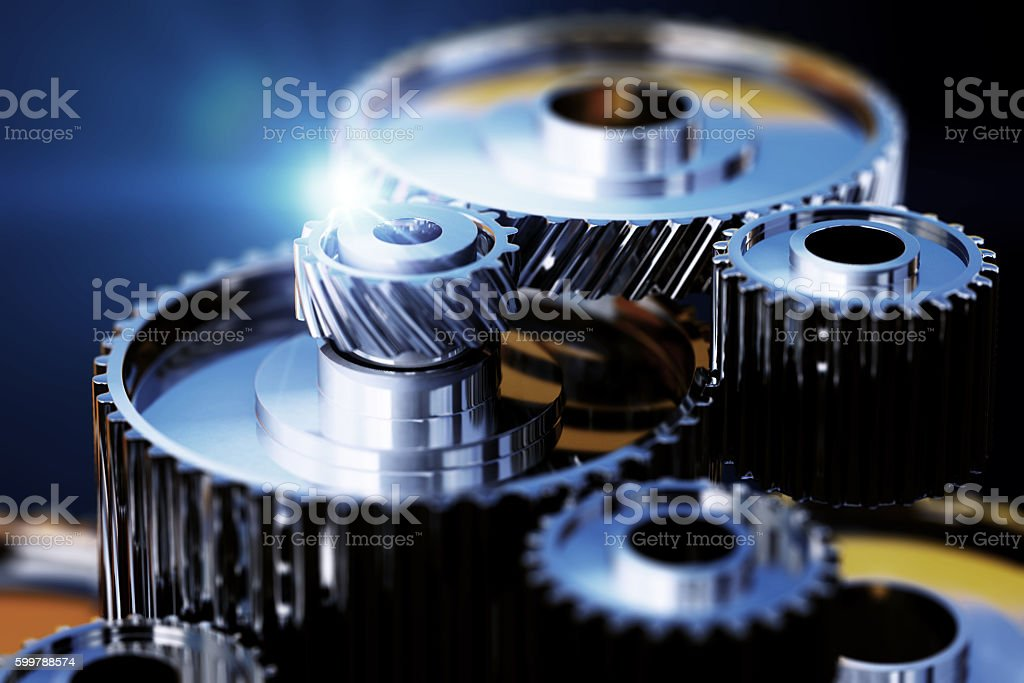 3d illustration of gear metal wheels close-up view stock photo