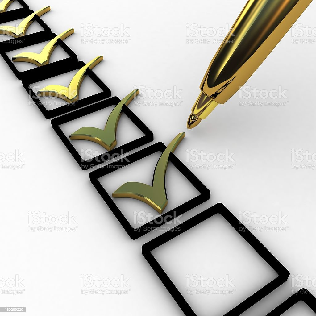 3d illustration of gold check mark over white background royalty-free stock photo