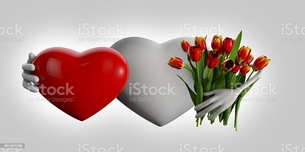 3d Illustration of heart with flowers stock photo