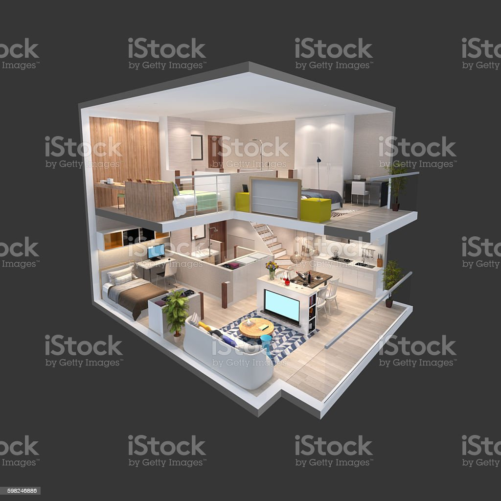 3d illustration of isometric view of a penthouse stock photo