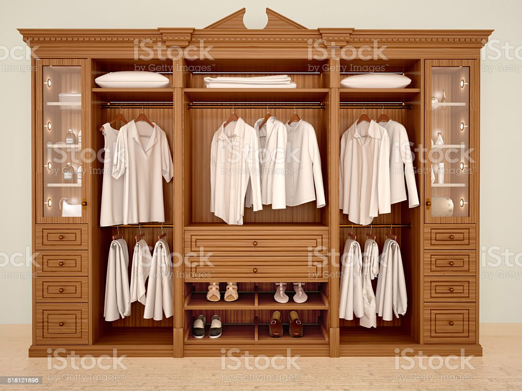 3d illustration of сlassic wood wardrobe wardrobe with clothes and accessories stock photo