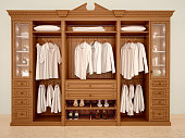 3d illustration of сlassic wood wardrobe wardrobe with clothes and accessories