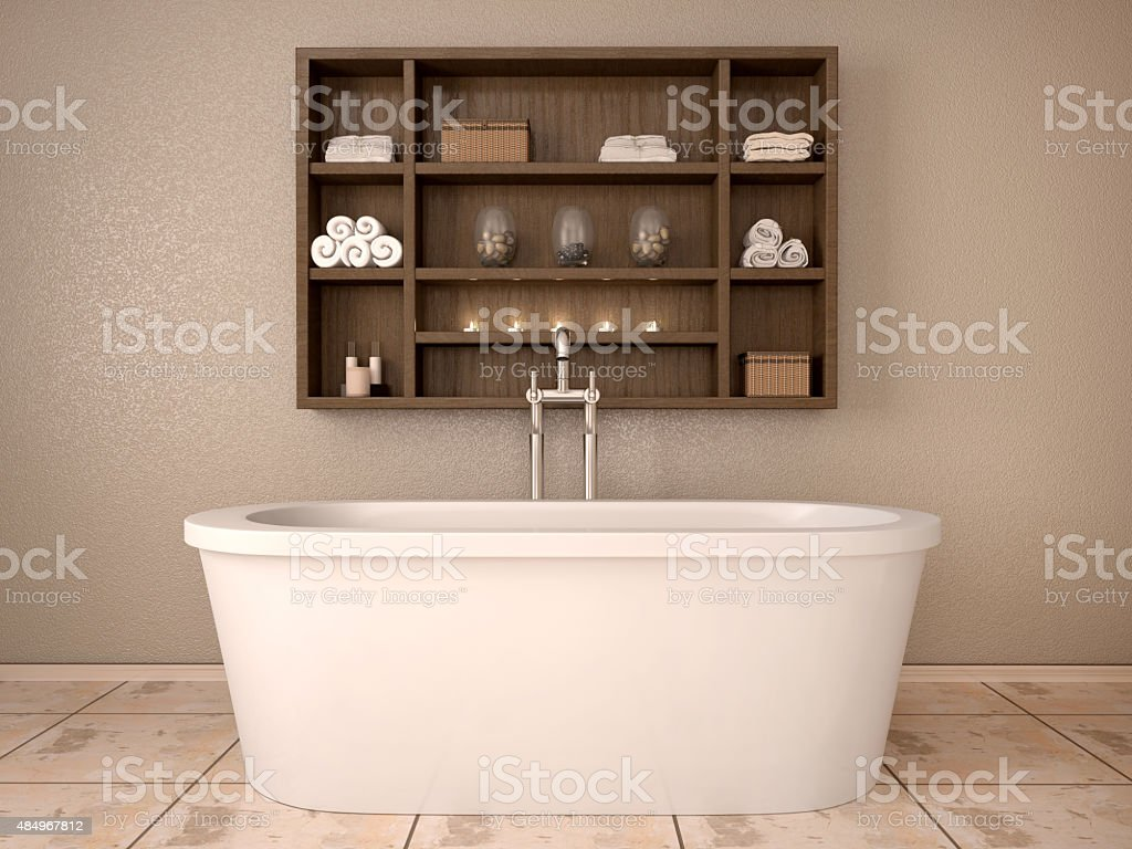 3d illustration of modern bathroom with wooden shelves stock photo