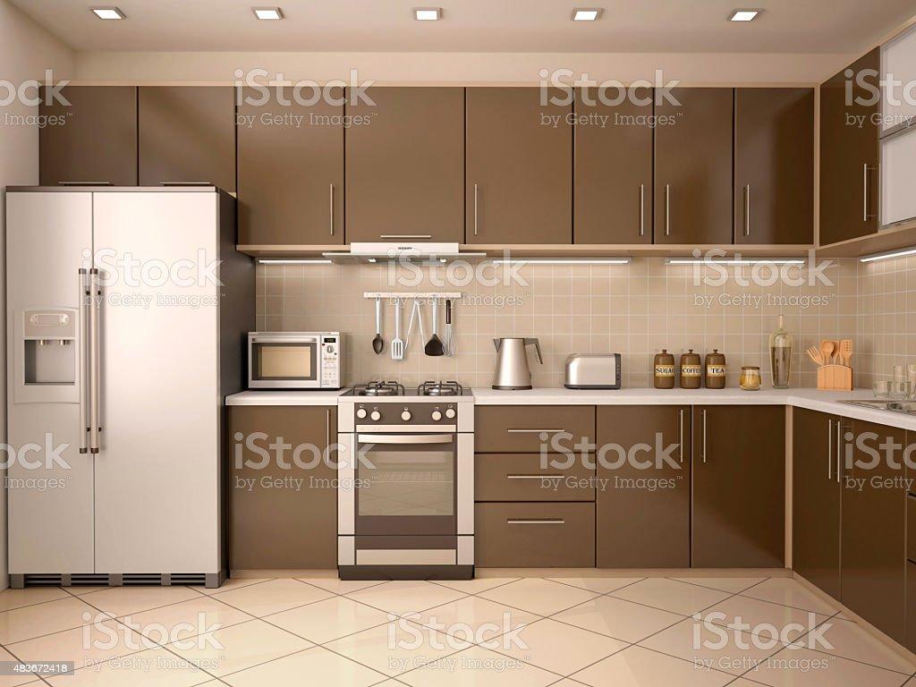 3d illustration of modern style kitchen interior stock photo