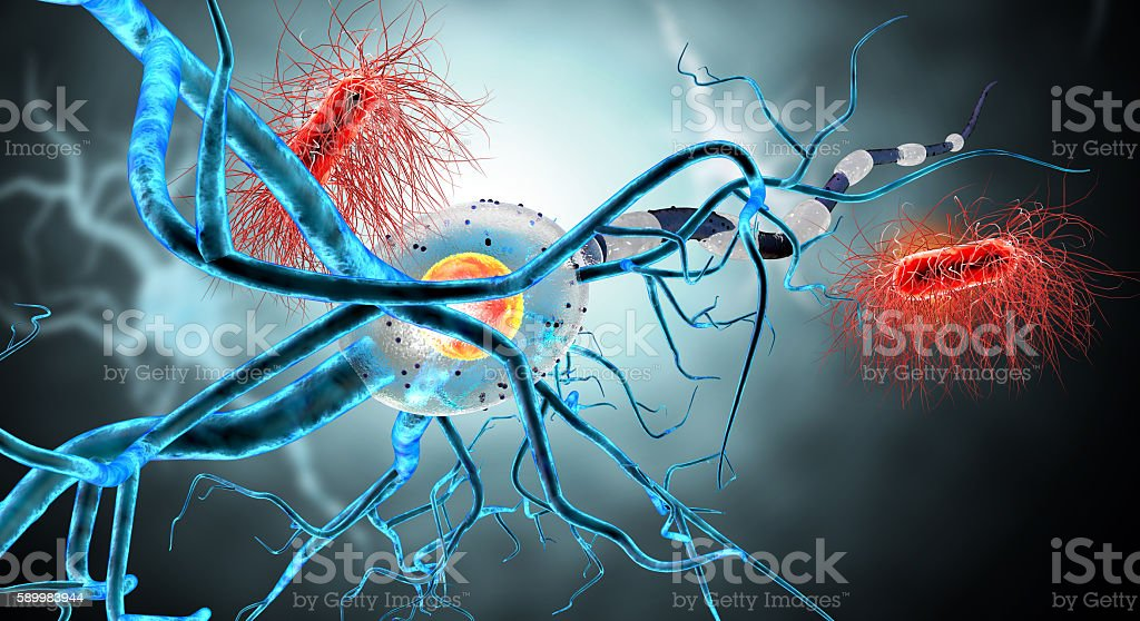 3d illustration of nerve cells and viruses stock photo