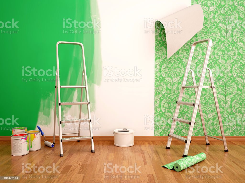 3d illustration of Painting wall and wallpapering green color stock photo