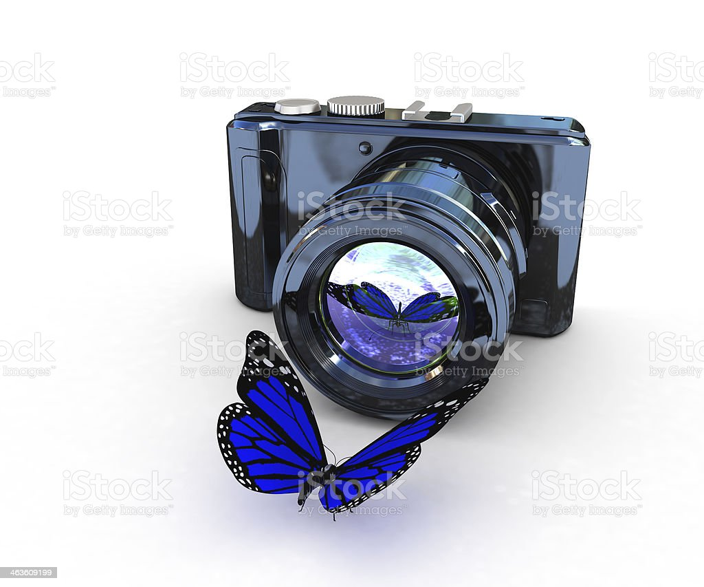 3d illustration of photographic camera and butterfly royalty-free stock photo