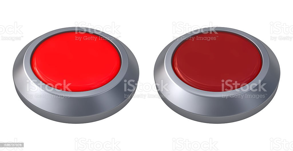 3d illustration of red button closeup isolated on white. stock photo