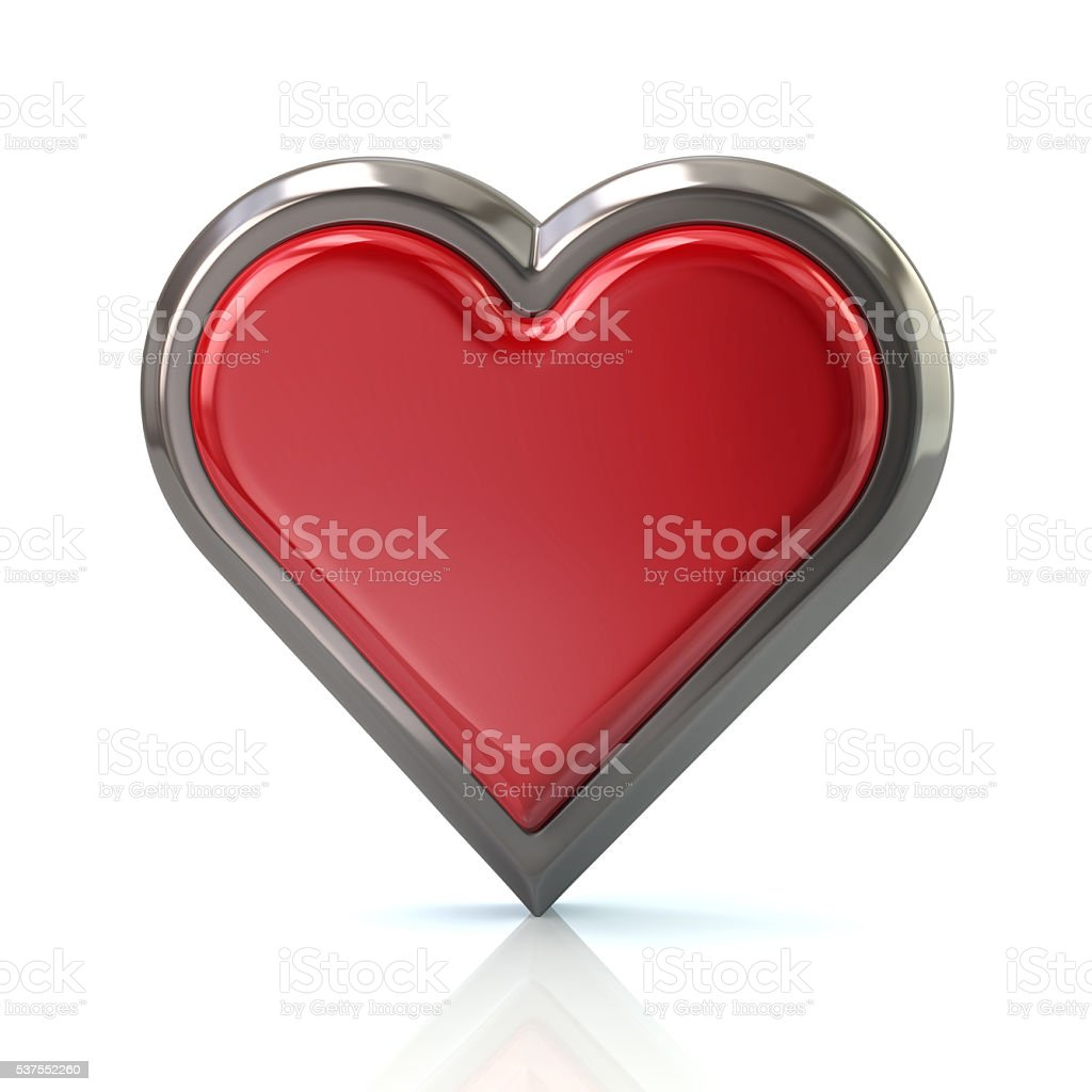 3d illustration of red heart icon stock photo