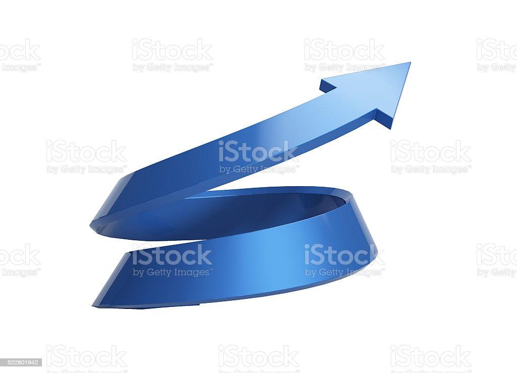 3d illustration of spiral arrow rising stock photo