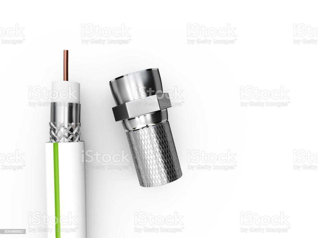 3d illustration of the coaxial tv cable structure with Plug stock photo