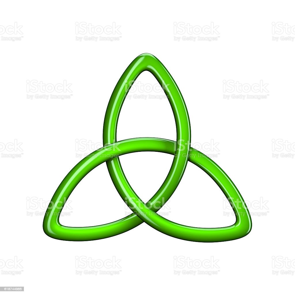 3d illustration of Trinity knot or Triquetra stock photo