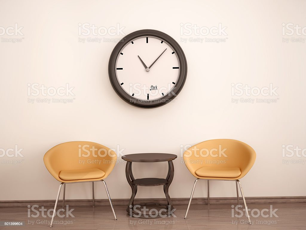 3d illustration of Waiting room. stock photo