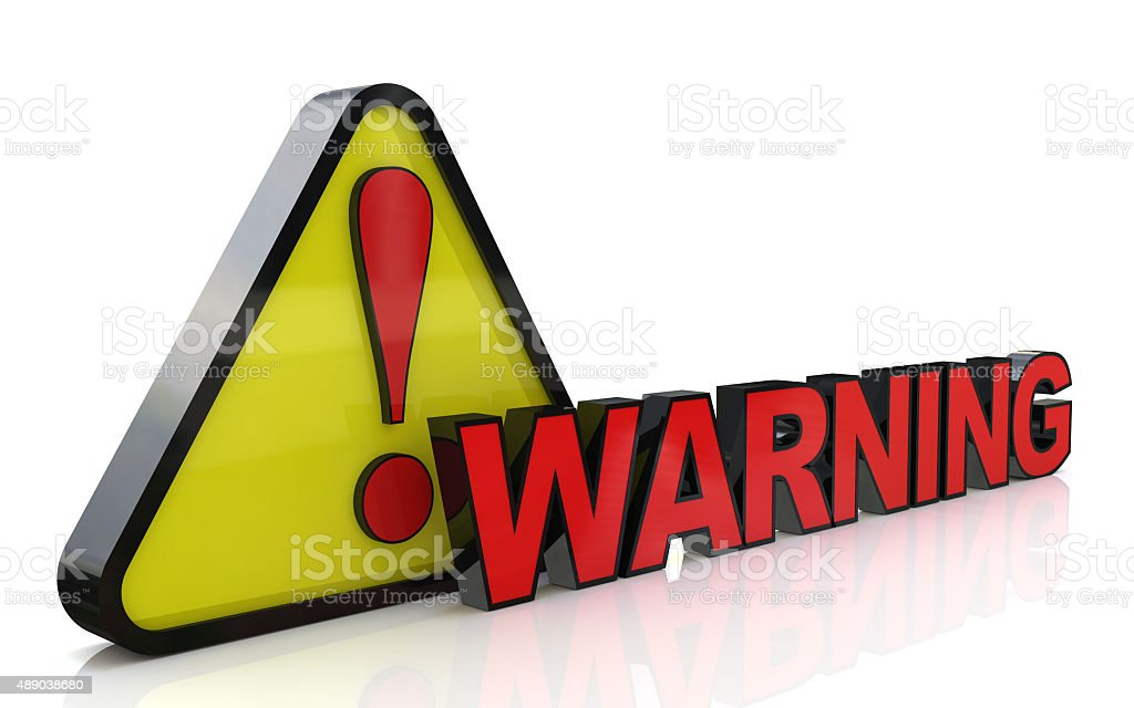 3d illustration of warning sign with exclamation mark stock photo