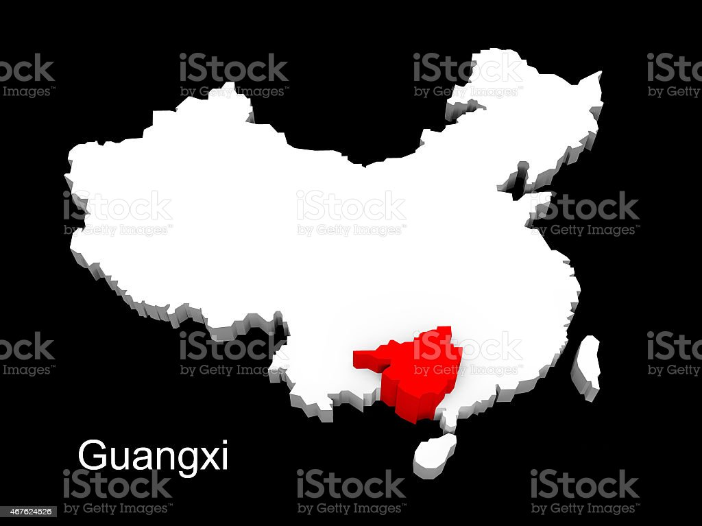 3d illustration province of china,focus on guangxi stock photo