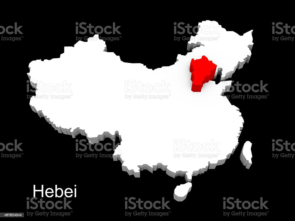 3d illustration province of china,focus on hebei stock photo