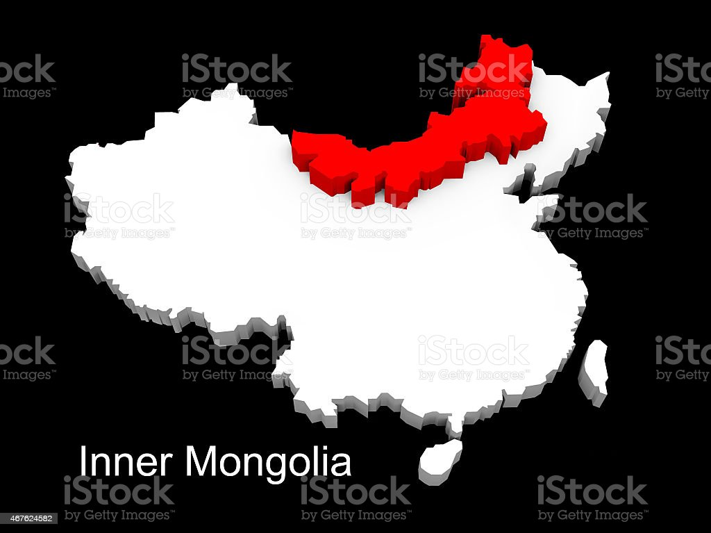 3d illustration province of china,focus on inner mongolia stock photo