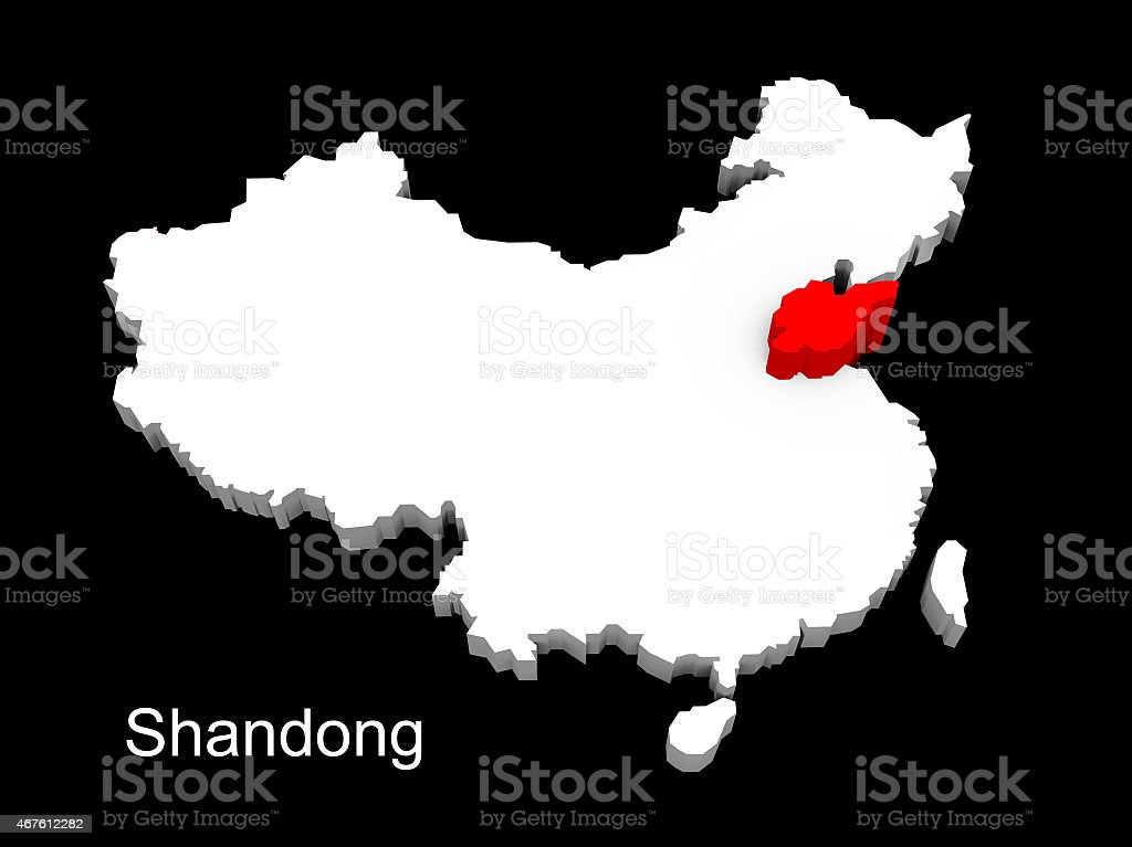 3d illustration province of china,focus on shandong stock photo