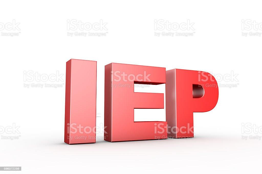 3d illustration sign iep stock photo
