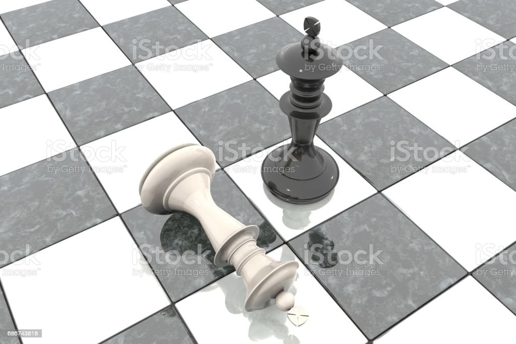 3d illustration: Two chess figures on the playing field. Black king is a winner and a loser white lies prostrate at his feet. Fallen. Marble Board game. Business strategy. Education stock photo