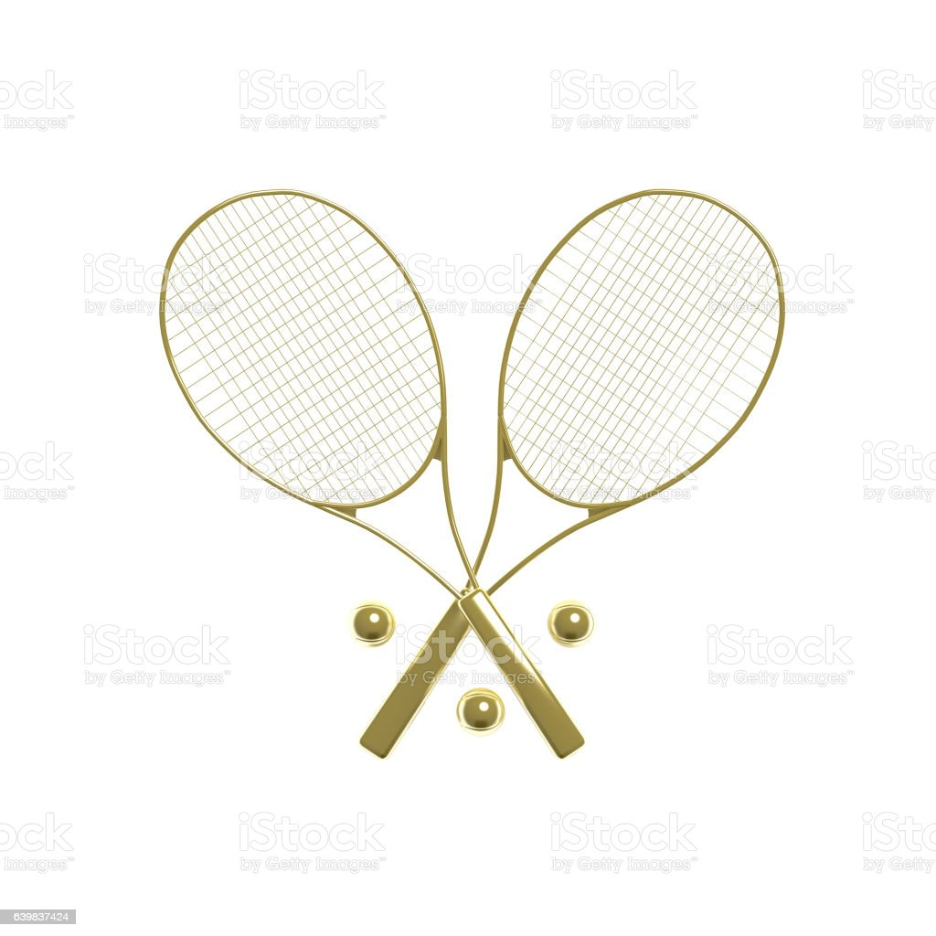 3d illustration two golden tennis rackets with balls stock photo