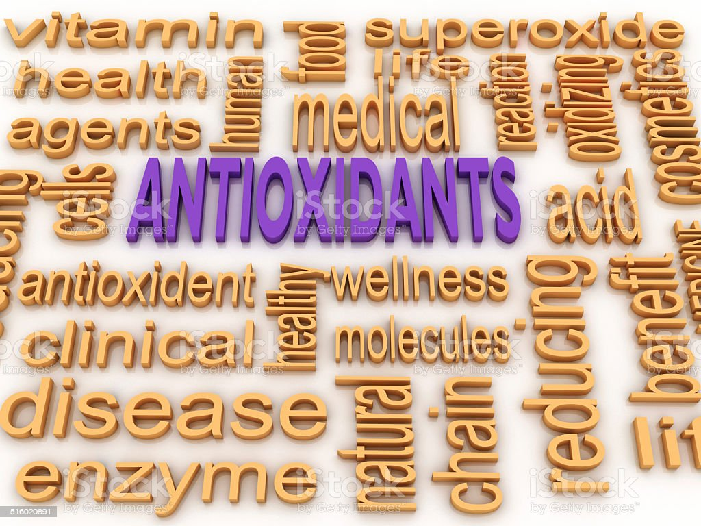 3d image Antioxidants concept word cloud background stock photo